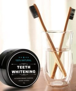 Natural Teeth Whitening Activated Charcoal Tandenbleker - Inclusief 2 Bamboe Tandenborstels - 30 g